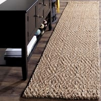 Safavieh Natural Fiber Diamond Weave Handmade Natural/ Natural Jute Runner Rug