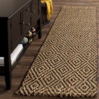 Safavieh Natural Fiber Diamond Weave Handmade Natural/ Black Jute Runner Rug