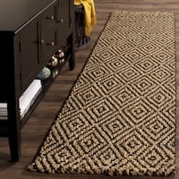 Safavieh Natural Fiber Diamond Weave Handmade Natural/ Black Jute Runner Rug - 2' 3 x 10'