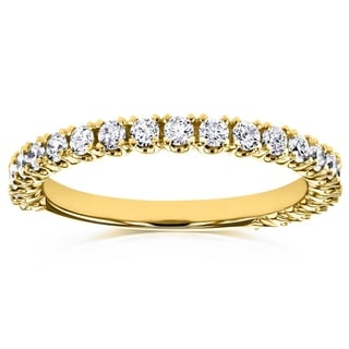 Annello by Kobelli 14k Yellow Gold 1/2ct TDW Diamond Round Split Prong Wedding Band