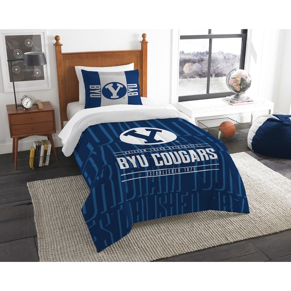 The Northwest Co COL BYU Modern Take Blue Twin 2-piece Comforter Set