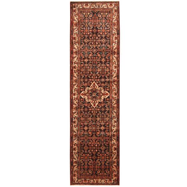 Herat Oriental Persian Hand-knotted Tribal Hamadan Wool Runner (3'7 x 13'6)