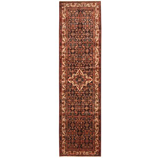 Herat Oriental Persian Hand-knotted Tribal Hamadan Wool Runner (3'7 x 13'6)
