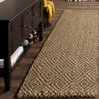 Safavieh Natural Fiber Diamond Weave Handmade Natural/ Grey Jute Runner (2' 3 x 6')
