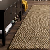 Safavieh Natural Fiber Diamond Weave Handmade Natural/ Grey Jute Runner Rug - 2' 3 x 10'