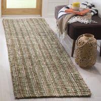 Safavieh Casual Natural Fiber Chunky Thick Handmade Sage/ Natural Jute Runner Rug - 2' 6 x 12'