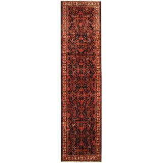 Herat Oriental Persian Hand-knotted Tribal Hamadan Wool Runner (3'6 x 13'6)