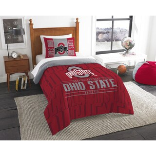 The Northwest Company COL Ohio State Modern Take Red/Grey Twin 2-piece Comforter Set