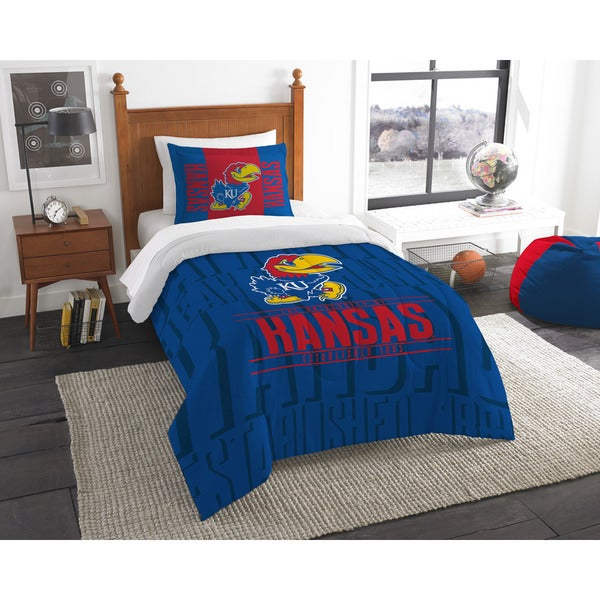 The Northwest Company Kansas Modern Take Blue and Red Polyester Twin 2-piece Comforter Set