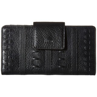 Fossil Emma Black Leather RFID Tab Clutch Wallet