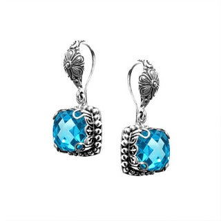 Handmade Bali Sterling Silver Square Faceted Blue Topaz Drop Earrings (Indonesia)