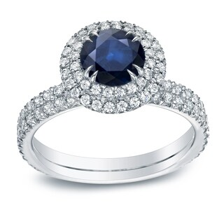 Auriya Platinum 3/4ct Blue Sapphire and 1ct TDW Round Cut Diamond Halo Engagement Ring (H-I, SI1-SI2)