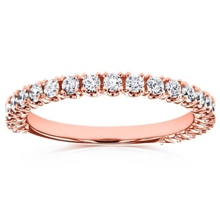 Annello by Kobelli 14k Rose Gold 1/2ct TDW Diamond Round Split Prong Wedding Band (GH, I1-I2)