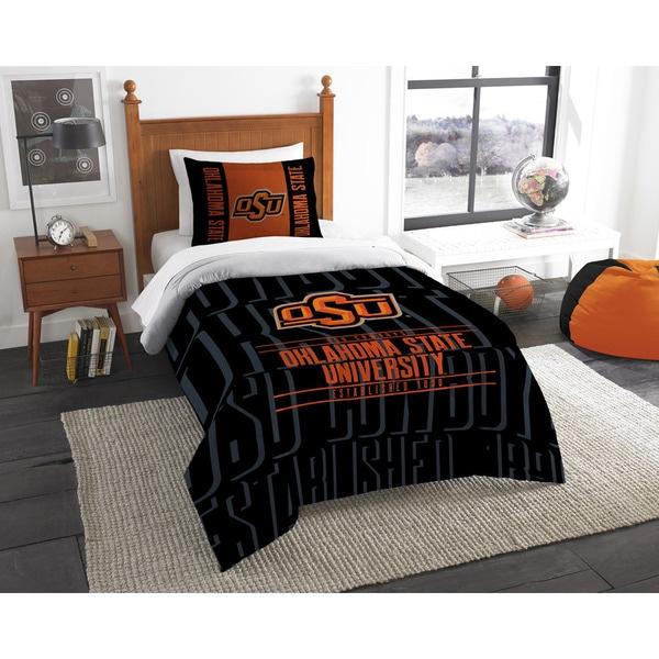 The Northwest Company Oklahoma State Modern Take Black and Orange Polyester Twin 2-piece Comforter Set