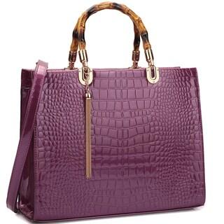 Dasein Wooden Handle Croco Emossed Satchel Handbag
