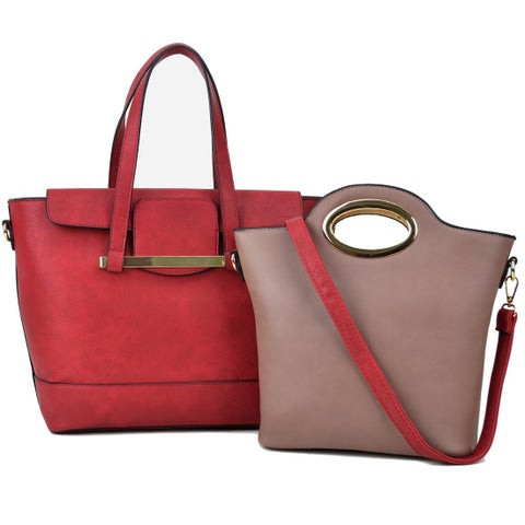 Dasein 2-in-1 Faux Leather Mini Satchel Handbag Tote Bag