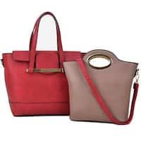 Dasein 2-in-1 Faux Leather Mini Satchel Handbag Tote Bag