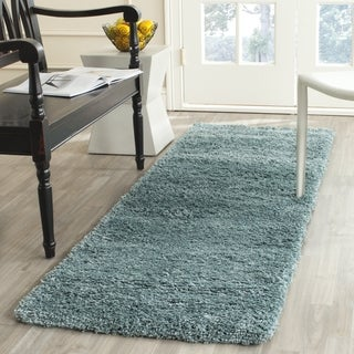Safavieh California Cozy Plush Light Blue Shag Runner (2' 3 x 5')
