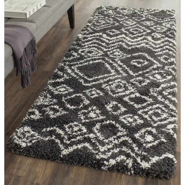how to choose a rug for living room safavieh belize shag charcoal ivory moroccan runner 2 3 28101