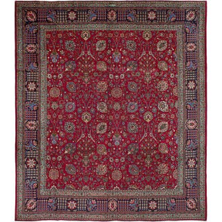 Ecarpetgallery Tabriz Red Wool Rug (11'1 x 12'9)
