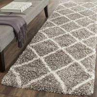 Safavieh Hudson Diamond Shag Grey/ Ivory Runner Rug - 2' 3 x 14'