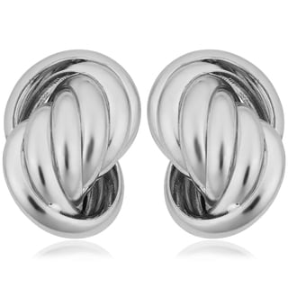 Argento Italia Rhodium Plated Sterling Silver Love Knot Earrings