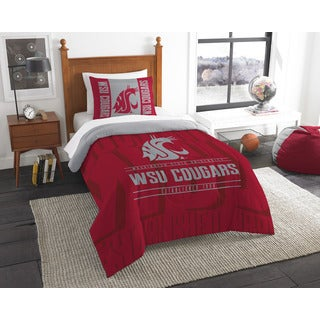 The Northwest Co COL 862 Washington State Modern Take Red and Grey Polyester Twin 2-piece Comforter Set