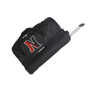 Denco Sports 'Northeastern' Black Nylon and Polyester 27-inch Drop-bottom Rolling Duffel Bag