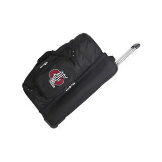 Denco Ohio State Black Nylon 27-inch Drop Bottom Rolling Duffel Bag