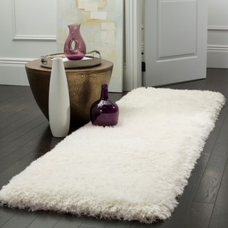 Safavieh Handmade Luxe Shag Super Plush Ivory Polyester Runner (2' 3 x 8')