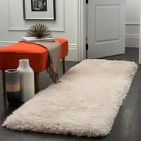 """Safavieh Handmade Luxe Shag Super Plush Bone Polyester Runner - 2'3"""" x 8'"""