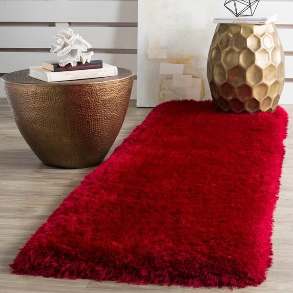 Safavieh Handmade Luxe Shag Super Plush Red Polyester Runner Rug - 2' 3 x 8'