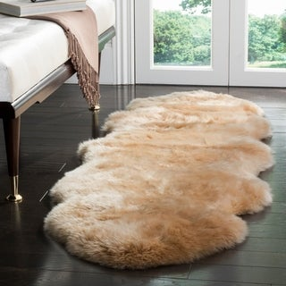 Safavieh Prairie Natural Pelt Sheepskin Wool Natural Beige Shag Rug - 2' x 6'