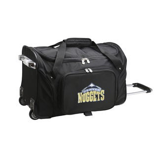 Denco Sports 'Denver Nuggets' Black Nylon and Polyester 22-inch Carry-on Rolling Duffel Bag