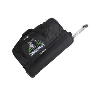 Denco Minnesota Timberwolves Black Nylon 27-inch Drop Bottom Rolling Duffel Bag