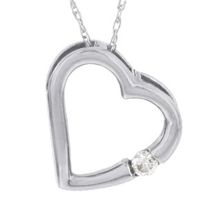 H Star 10k White Gold Diamond Accent Heart Pendant (I-J, I2-I3)