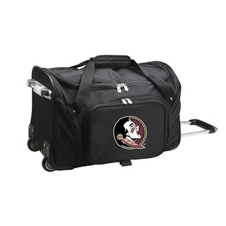 Denco Sports Florida State Black Ballistic Nylon and Polyester 22-inch Carry-on Rolling Duffel Bag