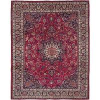 Ecarpetgallery Mashad Red  Wool Rug (9'9 x 12'8)
