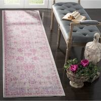 Safavieh Valencia Pink/ Multi Overdyed Distressed Silky Polyester Runner Rug