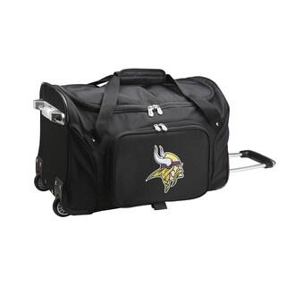 Denco Minnesota Vikings Black Nylon 22-inch Carry On Rolling Duffel Bag