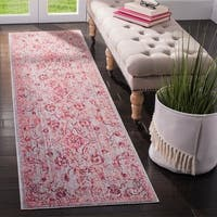 Safavieh Valencia Fuchsia/ Multi Overdyed Distressed Silky Polyester Runner Rug - 2' 3 x 10'