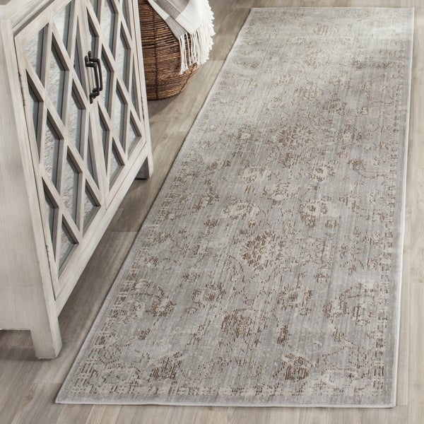 Safavieh Valencia Grey/ Multi Overdyed Distressed Silky Polyester Runner (2' 3 x 8')
