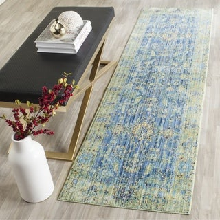 Safavieh Valencia Blue/ Multi Distressed Silky Polyester Runner (2' 3 x 10')