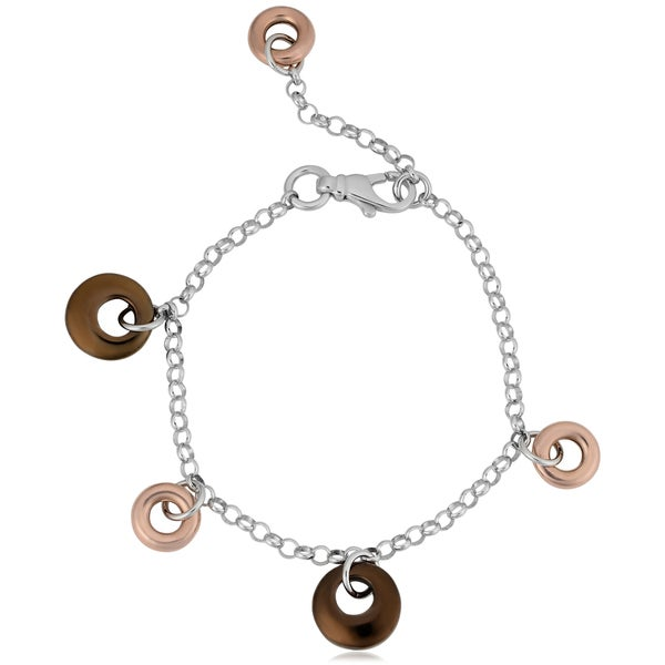Argento Italian Tri-Color Sterling Silver Puff Circles Adjustable Length Bracelet
