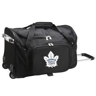 Denco Toronto Maple Leafs Black Nylon 22-inch x 12-inch Carry-on Rolling Duffel Bag