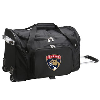 Denco Florida Panthers Black Nylon/Polyester 22-inch Carry On Rolling Duffel Bag