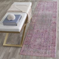 Safavieh Valencia Lavender/ Multi Overdyed Distressed Silky Polyester Runner (2' 3 x 12')