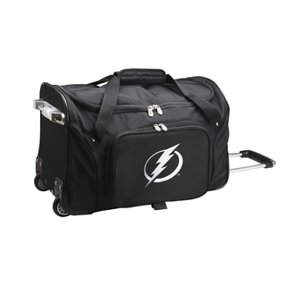 Denco Sports Tampa Bay Lightning Black Ballistic Nylon and Polyester 22-inch Carry-on Rolling Duffel Bag