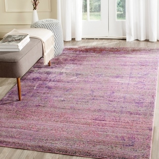 Safavieh Valencia Lavender/ Multi Overdyed Distressed Silky Polyester Runner (2' 3 x 6')