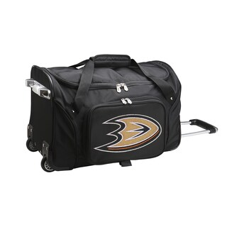 Denco Sports 'Anaheim Mighty Ducks' Black Nylon and Polyester 22-inch Carry-on Rolling Duffel Bag